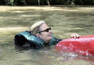Founder and Executive Director of Riverlink, Karen Cragnolin enjoying the French Broad river